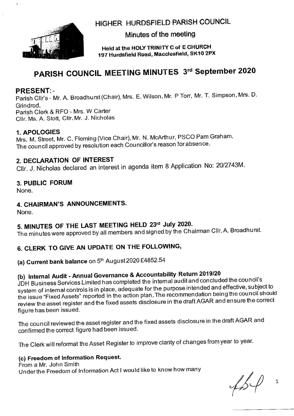 Approved Minutes of Meeting 3rd Sept. 2020. 1 of 4