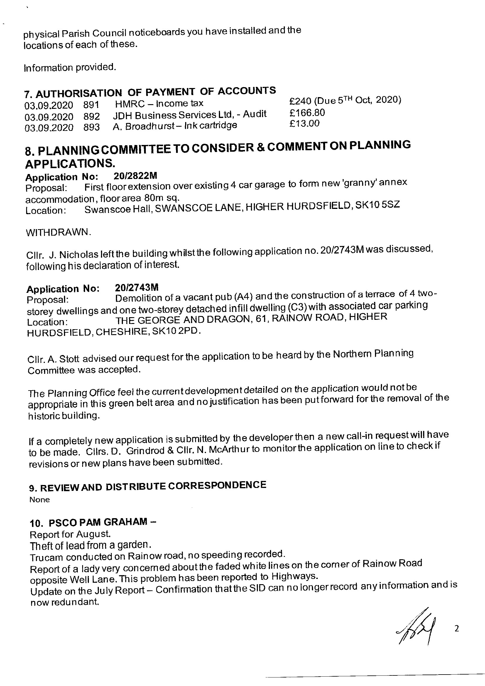 Approved Minutes of Meeting 3rd Sept. 2020. 2 of 4