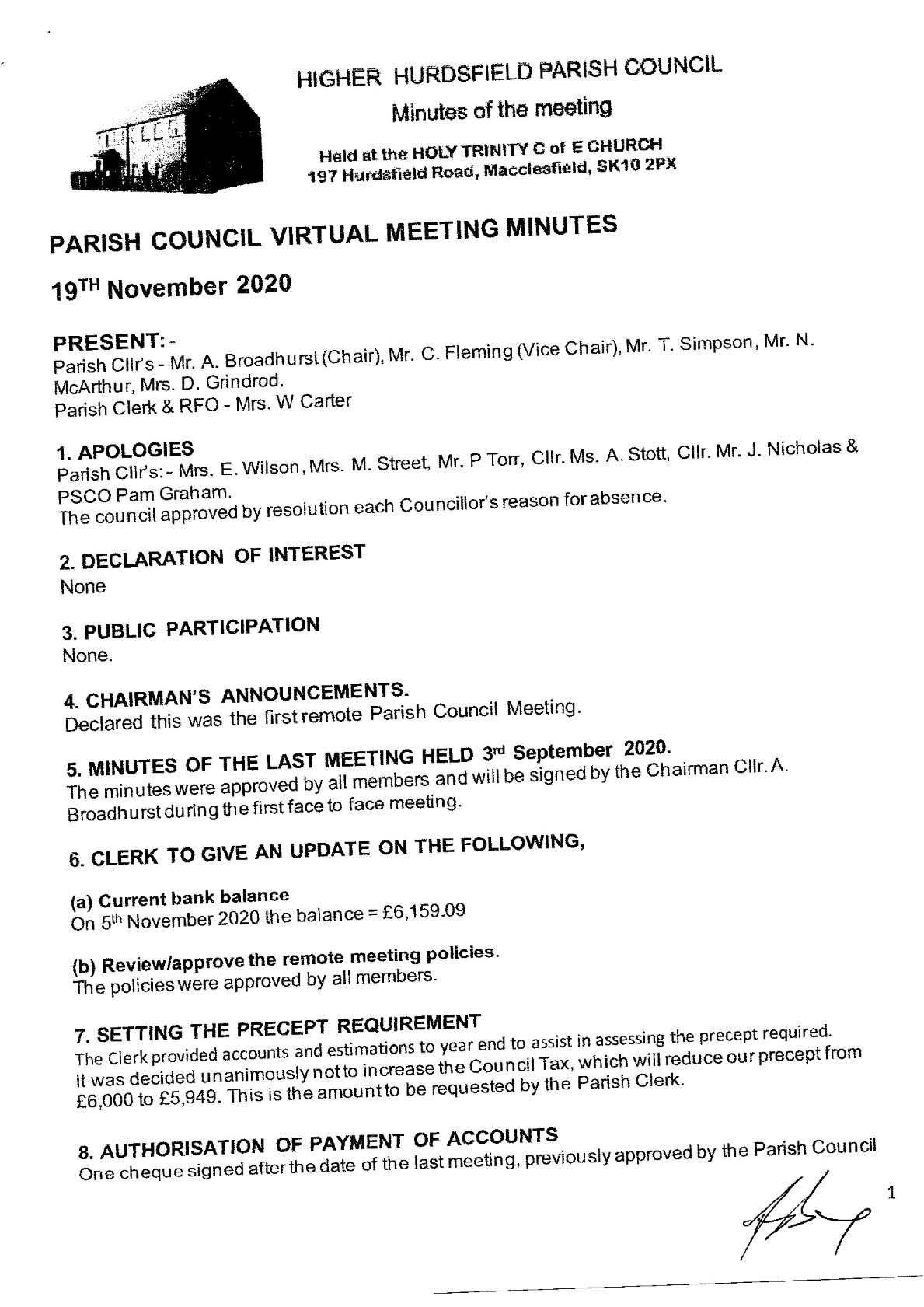 Signed Minutes of the meeting. 1 of 3
