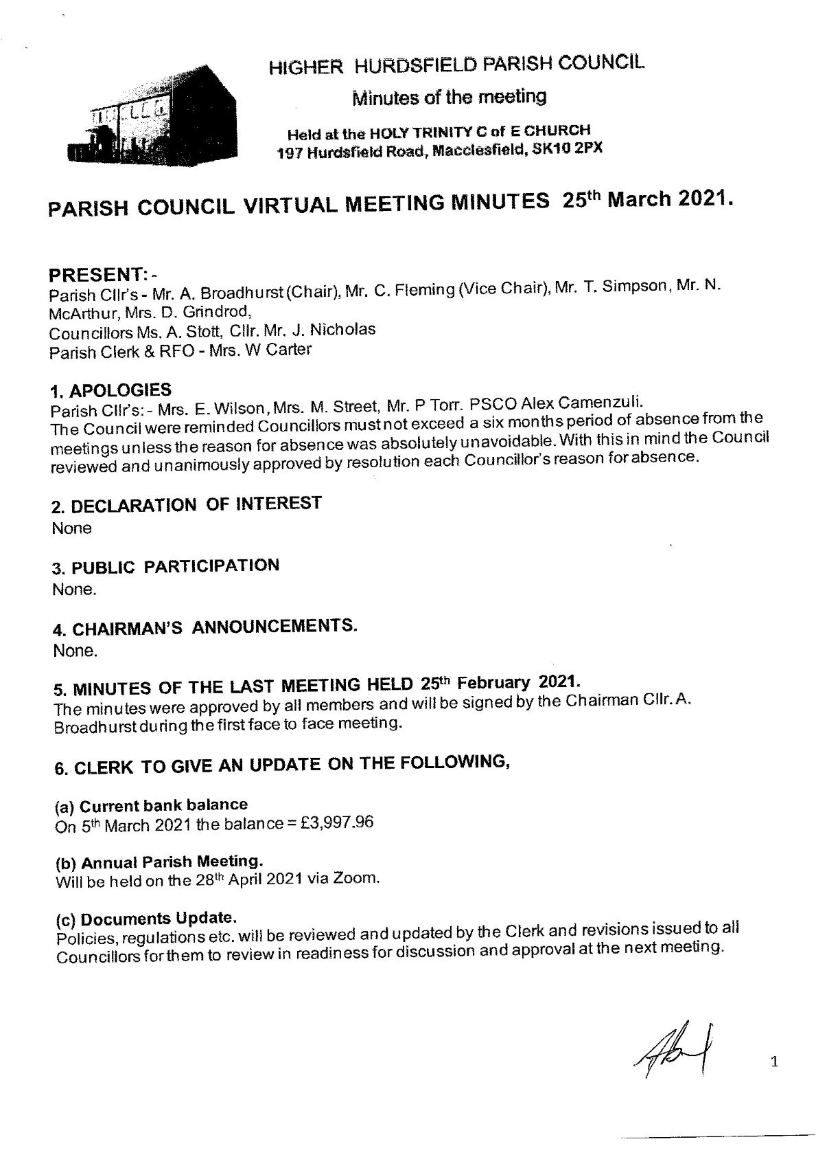 Signed Minutes of Meeting 1 of 4