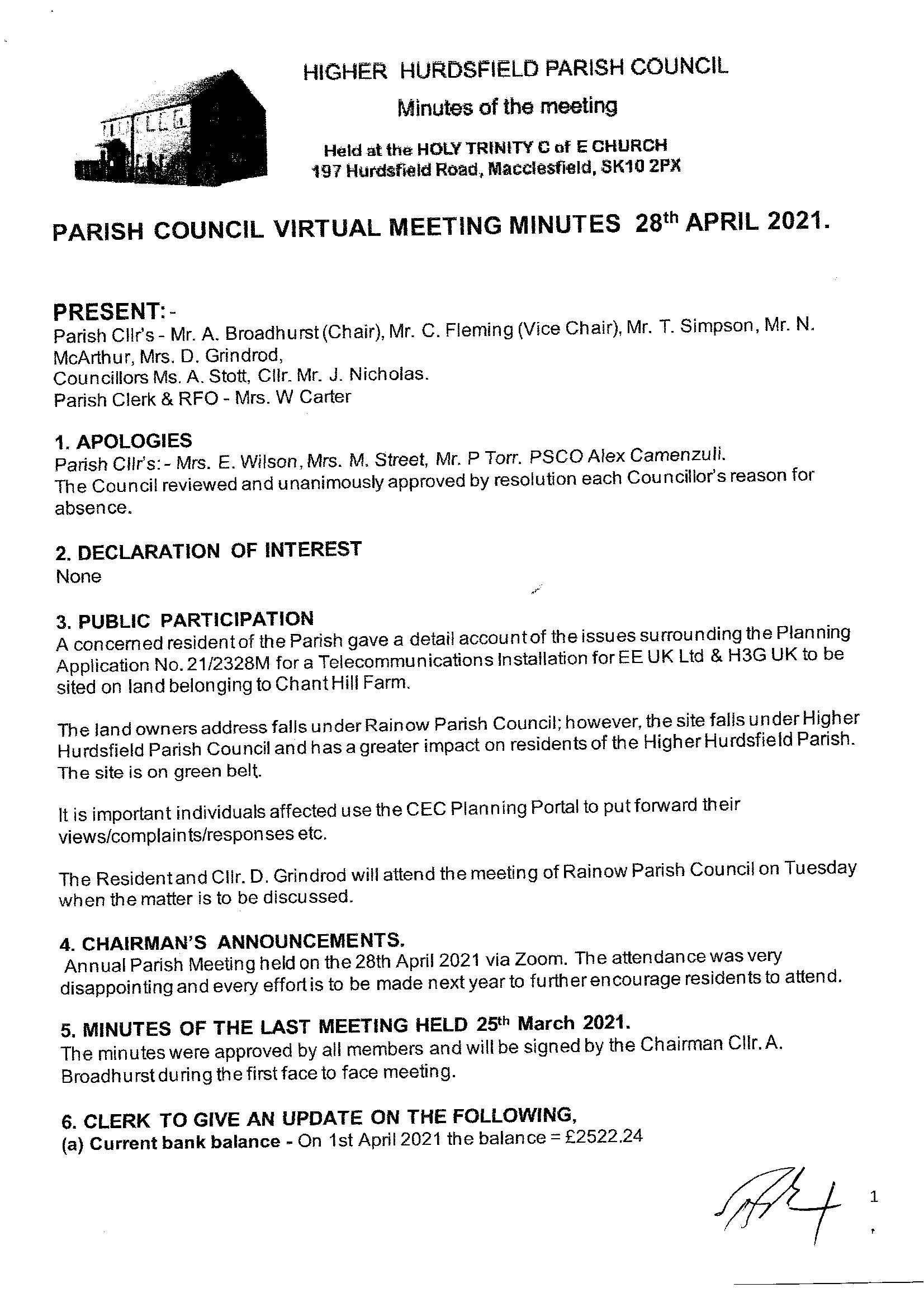 Signed Meeting Minutes 1 0f 4