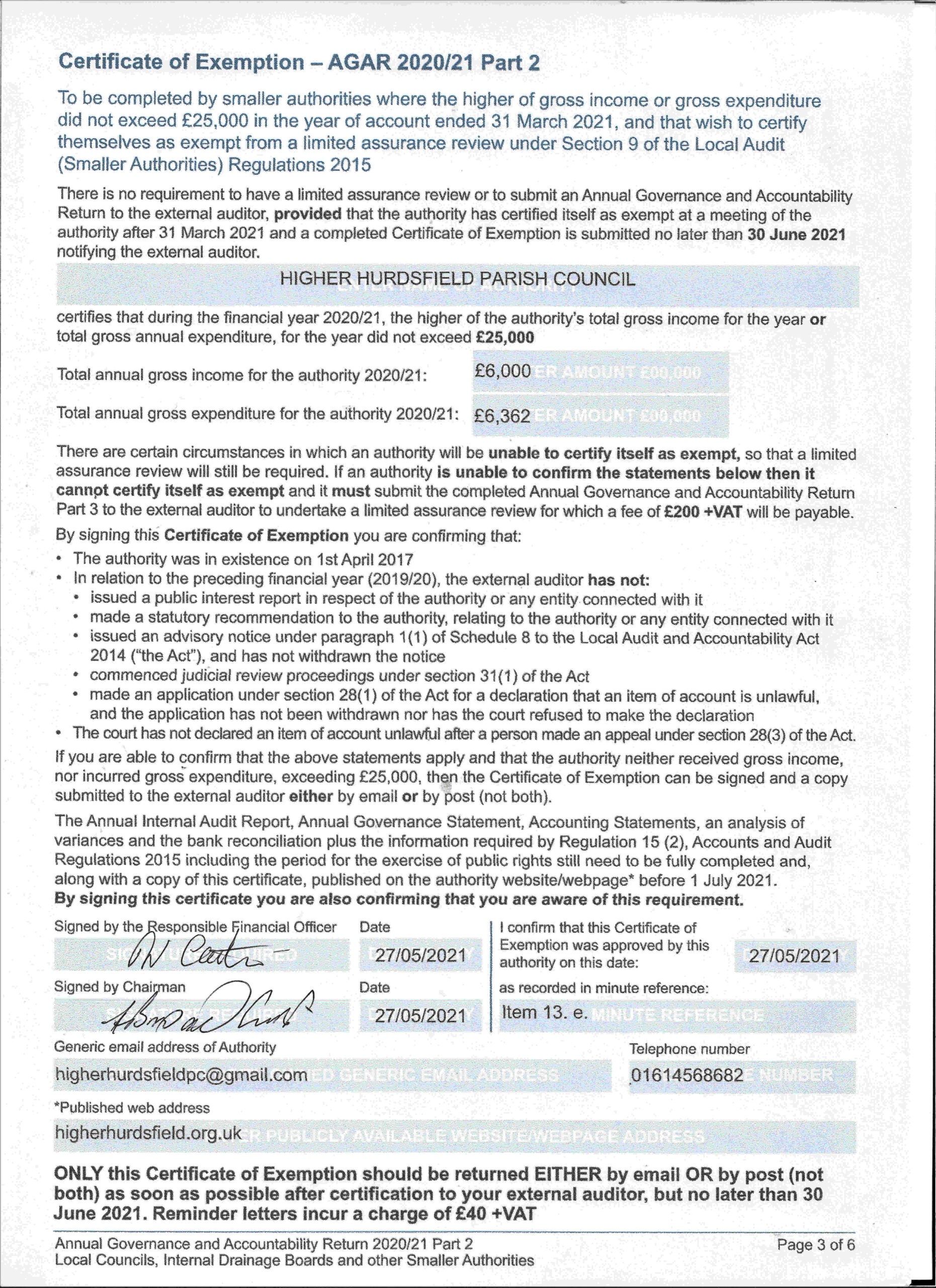Certificate to allow exemption from a limited assurance review under section 9 of the Local Authority (Smaller Authorities) Regulations 2015 2015
